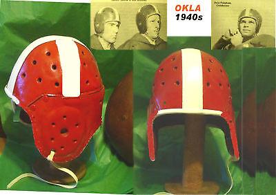 1940 Oklahoma Sooners Leather Football Helmet Old Colors Vintage Style