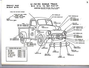 1948 1949 1950 dodge truck 1 2 3 4 1 ton exterior body parts diagram sheets wm ebay. Black Bedroom Furniture Sets. Home Design Ideas