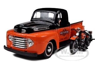 1948 FORD F-1 HARLEY DAVIDSON WITH 1948 FL PANHEAD 1/24 BLACK/ORANGE BY MAISTO in Toys & Hobbies, Diecast & Toy Vehicles, Cars, Trucks & Vans | eBay