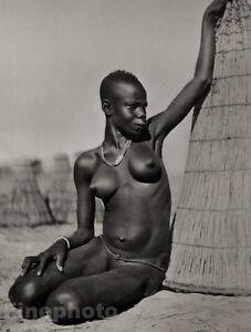 Print Africa Ethnic Black Negro Tribal Female Nude Woman Art