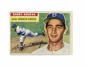 1956 Topps Sandy Koufax Brooklyn Dodgers...