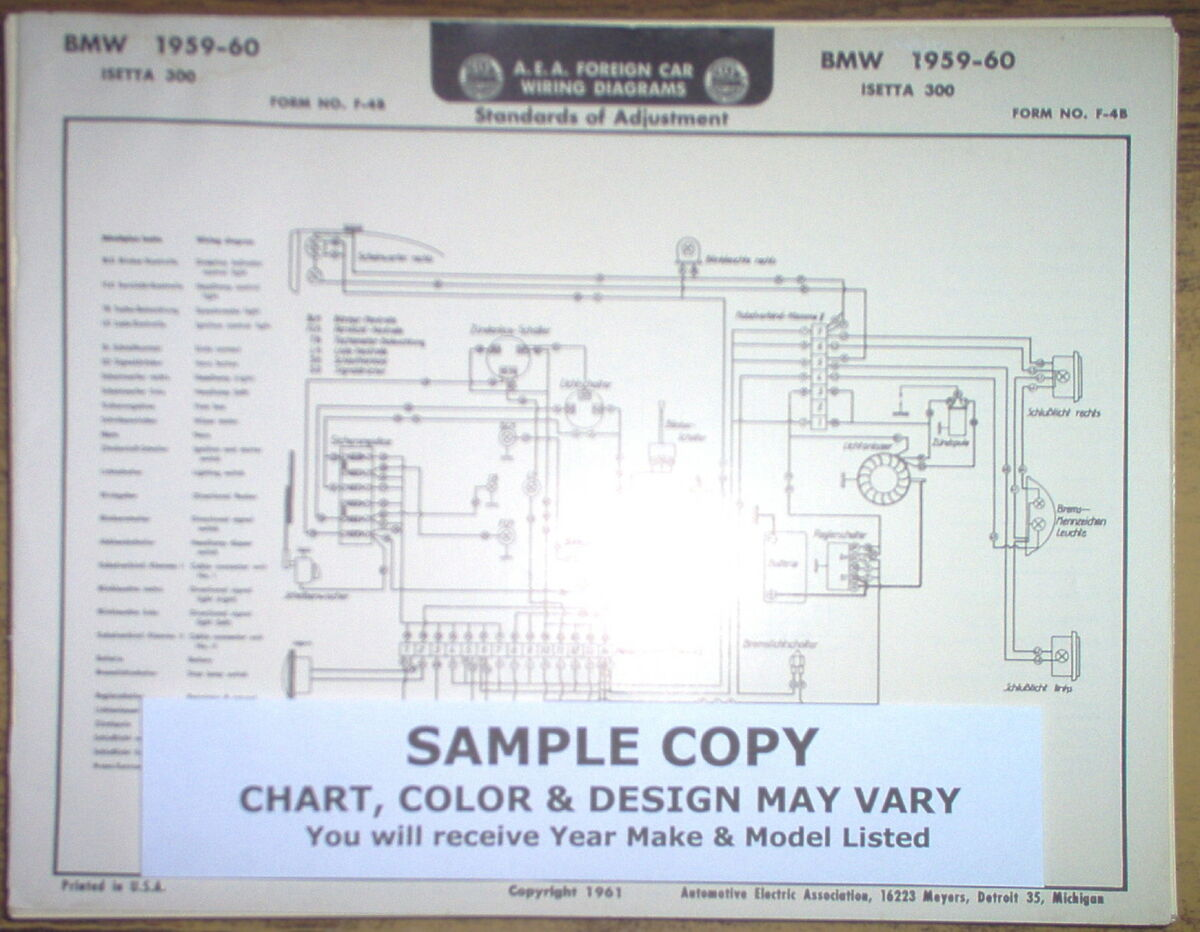 1959 1960 Bmw Isetta 300 Series Models Aea Wiring Diagram