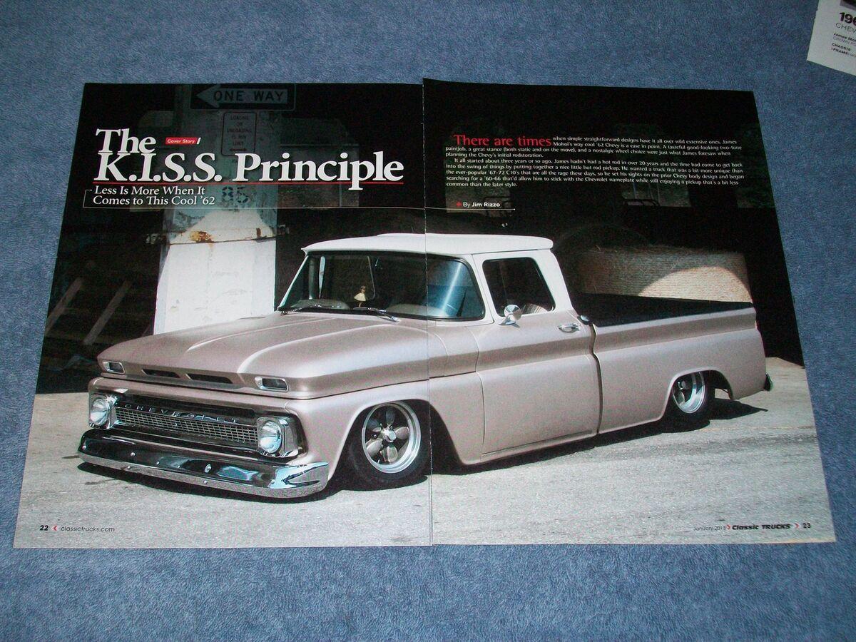 "1962 Chevy Truck Short Bed Fleetside Article ""The K I s s Principle"" GMC"