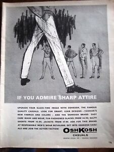 Men's Fashion 1963 http://www.ebay.com/itm/1963-OSHKOSH-Mens-Fashion-Sharp-Attire-Ad-/300524081748