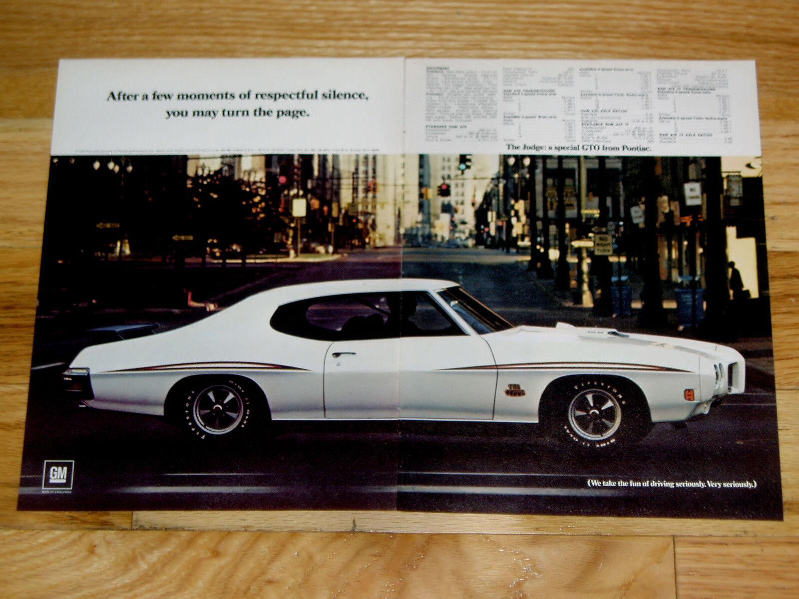 1970 Pontiac GTO Judge Print Ad Poster 1971 1972 RAM Air Hood Spec Data