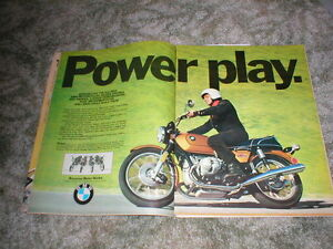 1974 bmw 900 street bike cycle ad 2 pages r90s r90 6 r75 6 r60 6