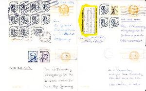1980-vier-Ganzsachenkarten-USA-teils-mit-Zufrankatur-nach-Deutschland
