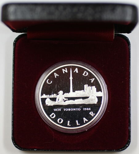 1984 Canada Silver Dollar, 150th Anniversary of Toronto, Sesquicentennial In Box in Coins & Paper Money, Coins: Canada, Commemorative   eBay