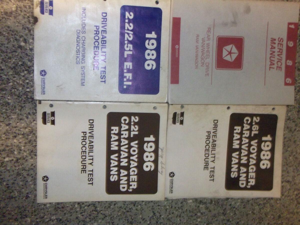 1986 Dodge RAM Van Wagon rwd Service Shop Repair Manual Set Factory