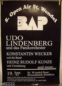 1987 BAP Poster 5. Open Air 19.09.1987 (59x84) selten mit Udo Lindenberg - <span itemprop='availableAtOrFrom'>Delitzsch, Deutschland</span> - 1987 BAP Poster 5. Open Air 19.09.1987 (59x84) selten mit Udo Lindenberg - Delitzsch, Deutschland