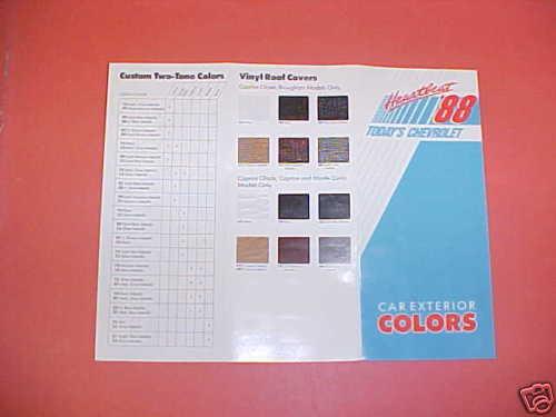 1988 Chevrolet Camaro Color Paint Chips Brochure 88