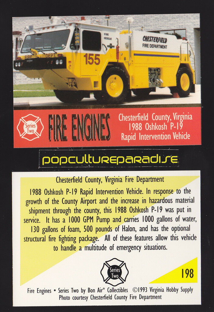 Rapid intervention fire truck engine card chesterfield county