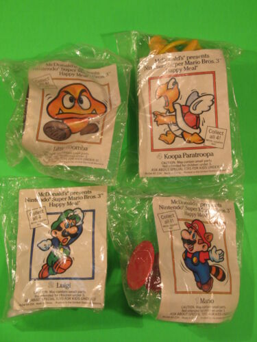 1990 McDonalds - Super Mario 3 Nintendo set of 4 *MIP* in Toys & Hobbies, Fast Food & Cereal Premiums, Fast Food | eBay