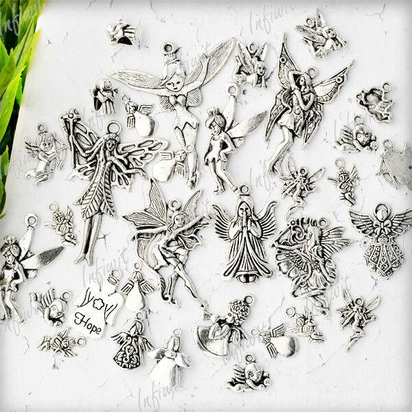 19pcs Tibetan Silver Mixed Angels Spirit charms Pendants IWTS0621