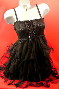 1XL-2X-BK-CORSET-Victorian-CHIFFON-DRESS-Punk-Rockabilly-PINUP-GOTHIC-Torrid-BoW