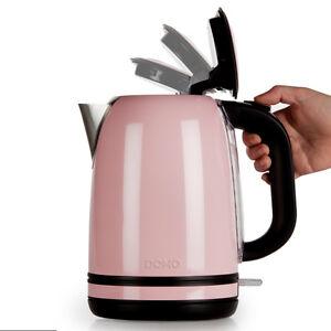 1a edelstahl wasserkocher retro look design farbig 1 7 liter pastell rosa pink ebay. Black Bedroom Furniture Sets. Home Design Ideas
