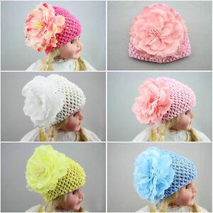 1pc baby girls newborn infant kids flower hat cap beanie