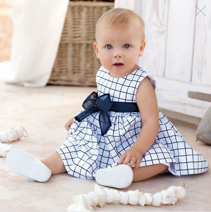 1pc Baby Toddler Girl Kid Cotton Top Plaids Dress Outfit Clothes Skirt 0 3Y
