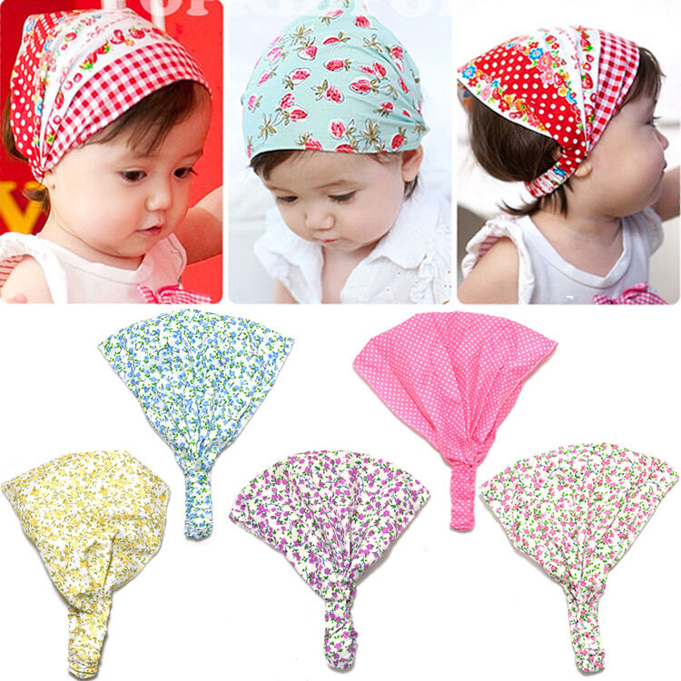 1pc Cotton Kid Girl Baby Floral Headband Hair Band Accessory Headscarf Bandana