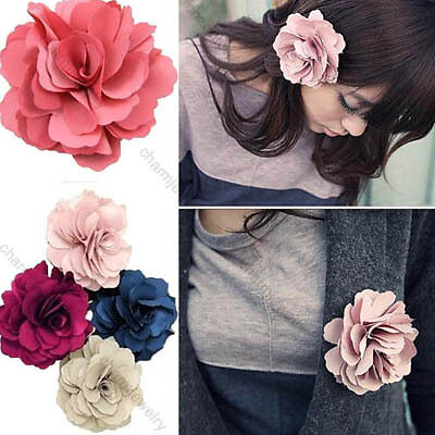 1pcs Lady Satin Peony Flower Hair Clips Brooch New