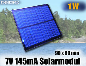 1x-7V-145mA-1W-90x90mm-Solarmodul-Solarzelle-Polykristallin-vergossen