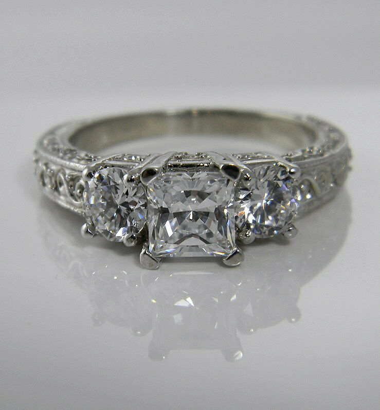2 00 CTW PRINCESS ANTIQUE CARVED 3 STONE ENGAGEMENT RING SOLID 14K WHITE GOLD