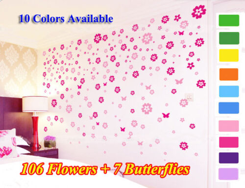 2 * 106 Flowers & 7 Butterfly DIY Removable Wall Sticker Kids-- Hot Pink & Pink in Home & Garden, Home Décor, Wall Stickers | eBay