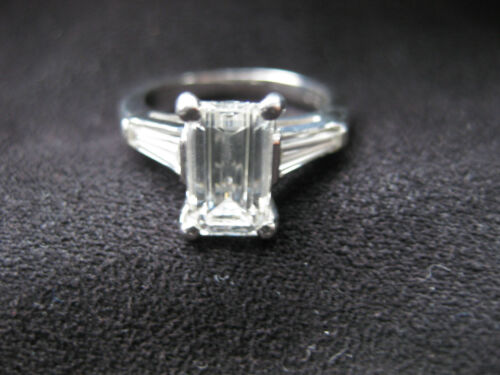 2.24 CT EMERALD CUT DIAMOND PLATINUM ENGAGEMENT RING in Jewelry & Watches, Engagement & Wedding, Engagement Rings | eBay
