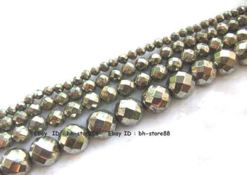 2,4,6,8,10,12mm Beautiful Pyrite round faceted loose Beads 15'' in Jewelry & Watches, Loose Beads, Stone | eBay