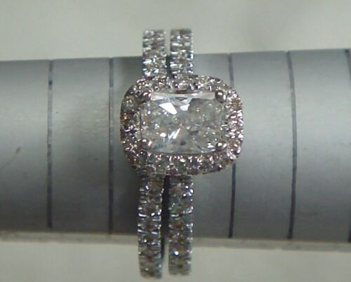 2.40 CT CUSHION CUT DIAMOND ENGAGEMENT RING WEDDING BAND SET 14K WHITE GOLD in Jewelry & Watches, Engagement & Wedding, Engagement/Wedding Ring Sets | eBay