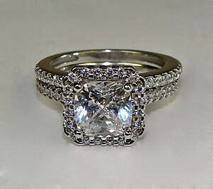 2 49ct cushion cut engagement ring and wedding band in 14k