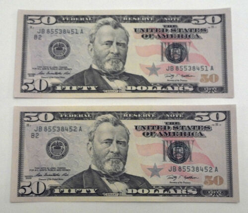 (2) - $50 2009 UNCIRCULATED CONSECUTIVE SERIAL # BILLS NOTES DOLLARS NEW $100 in Coins & Paper Money, Paper Money: US, Small Size Notes | eBay