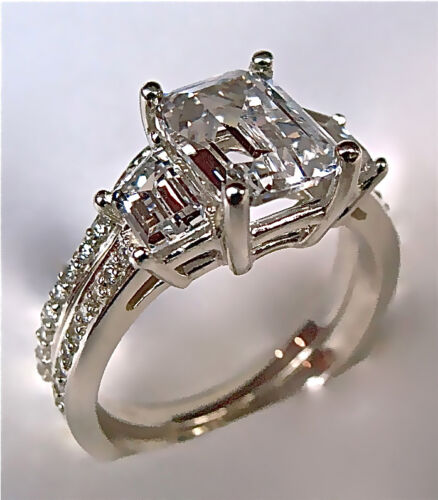 2.94Ct Emerald Cut Engagement Ring & Matching Wedding Band 14K Gold NO RESERVE in Jewelry & Watches, Engagement & Wedding, Engagement Rings | eBay