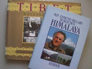 2-Buecher-Mit-Hillary-durch-Himalaya-Tibet-Heiliger-Raum-Fotografien-1880-1950