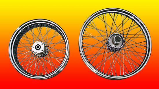 2 Chopper Chrome 60 Spoke Wheels Rims Wheel Fits Harley
