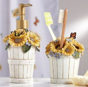 2 Country Sunflower Basket 3D Butterfly Floral Bathroom Accessory ...