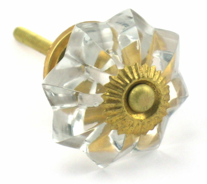 Crystal Glass Cabinet Knobs Vintage Style Melon Drawer Pulls Handles