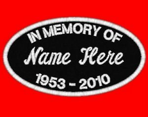 2 Custom Embroidered IN MEMORY Name Patches Personalized Biker Tags Motorcycle in Specialty Services, Custom Clothing & Jewelry, Other | eBay