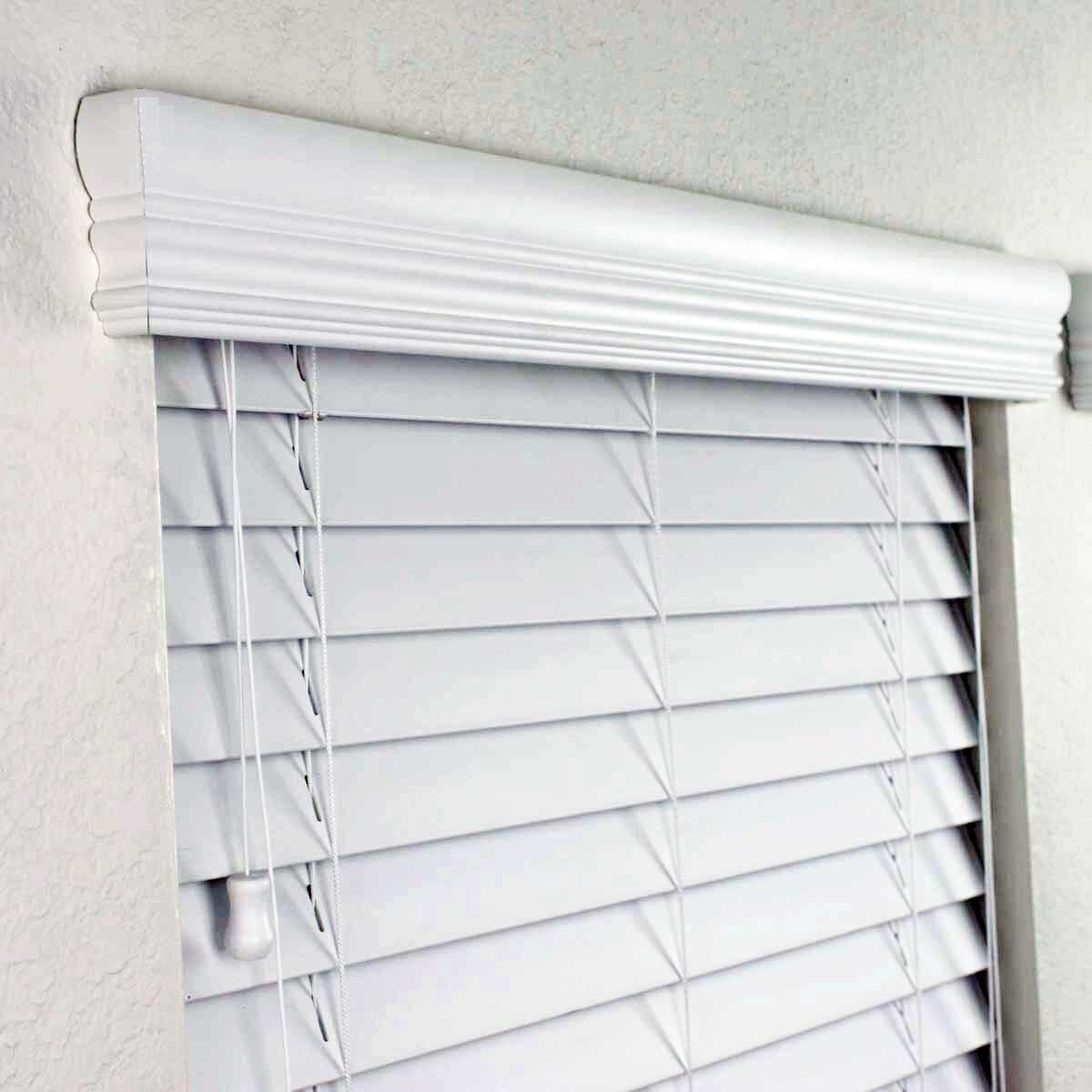 White Wood Cornice : White faux wood blinds grasscloth wallpaper