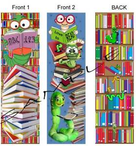 2 FUN BOOKWORM BOOKMARKS School Kids Love To READ BOOKS in Books, Accessories, Bookmarks   eBay