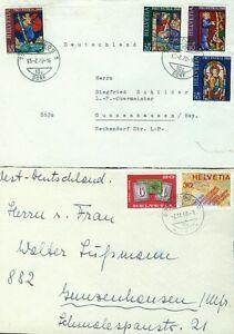 2-Ganzsachen-Schweiz-1970-10-20-30-50-Rappen-1968-20-30-Rappen