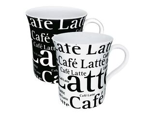 2 gro e kaffeebecher schwarz wei k nitz porzellan cafe latte 2x 400ml ebay. Black Bedroom Furniture Sets. Home Design Ideas