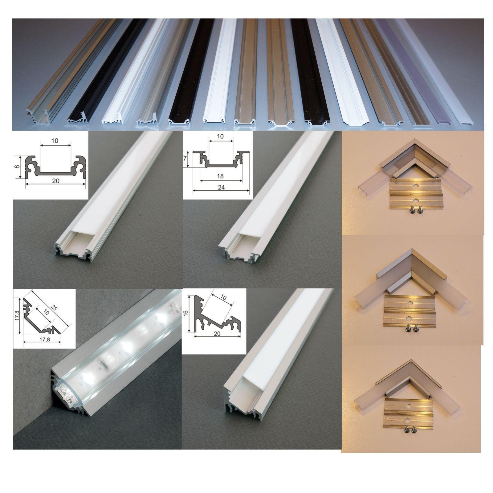 2 m alu profil aluminium schiene f r led strip s alu led. Black Bedroom Furniture Sets. Home Design Ideas