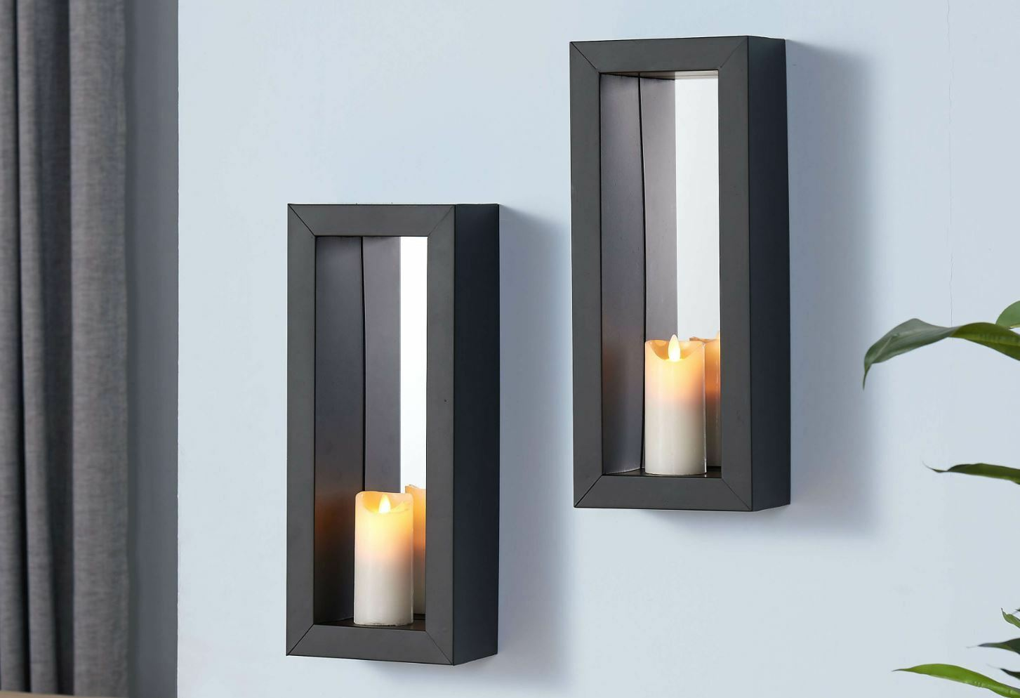 2 mirror candle wall sconce holder set metal pair decor vintage contemporary art ebay. Black Bedroom Furniture Sets. Home Design Ideas