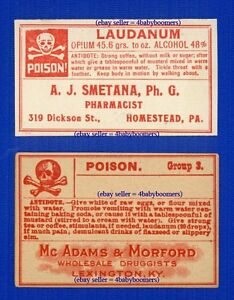 2-Old-LAUDANUM-POISON-OPIUM-Antique-Drugstore-Narcotic-Medicine-Bottle-Label