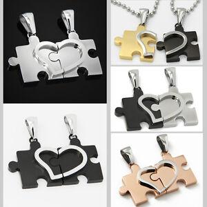 2-Partnerkette-Edelstahl-Anhaenger-Kette-Puzzle-Herz-silber-schwarz-gold