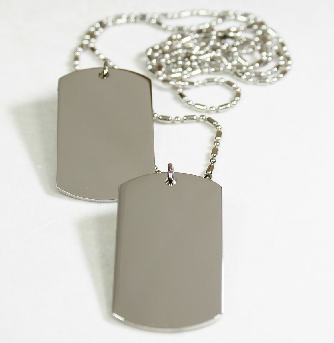 Plated Silver Tone Dog Tag Pendant Necklace Military Style