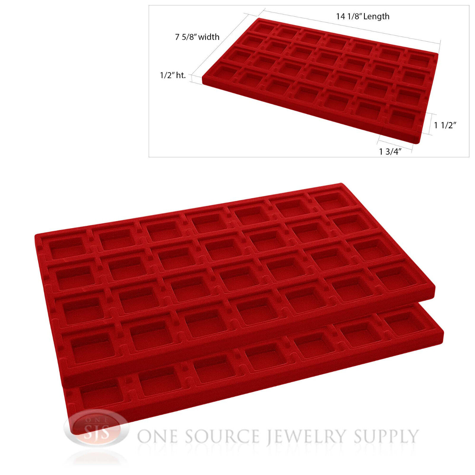 2 Red Insert Tray Liners W 28 Compartments Drawer