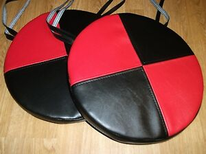 2 Round Dining Garden Chair Cushions Seat Pads Black Red Faux Leather 1