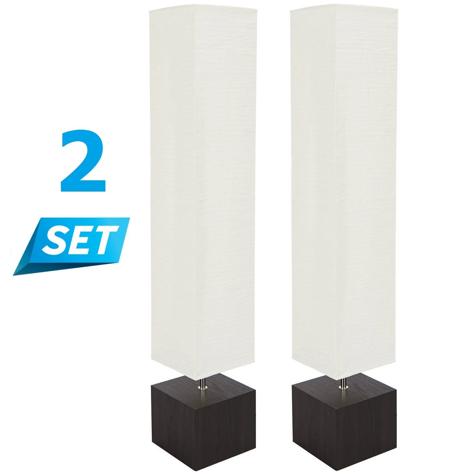 Details About 2 Set Rice Paper Floor Lamp White Shade Wood Square Living Room Office Pack Pair